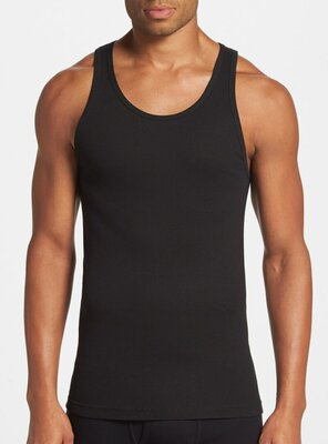 Calvin Klein - Mens RIBBED Tank Top, made 1996 BLACK M