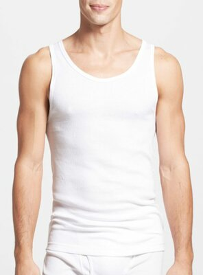 Calvin Klein - Mens RIBBED Tank Top, made 1996 WHITE M