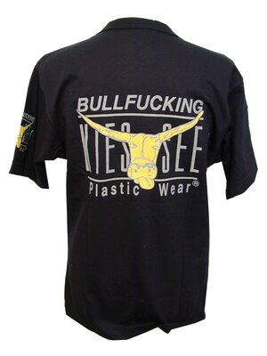 BULLFUCKING KIESSEE - fun retro henley shirt - black -...