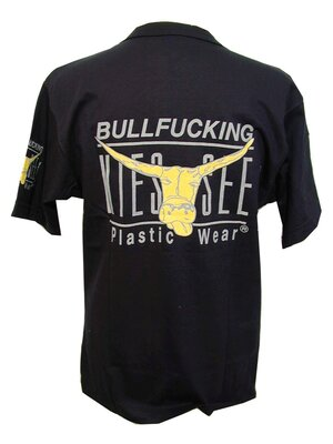 BULLFUCKING KIESSEE - fun retro border t-shirt - black -...
