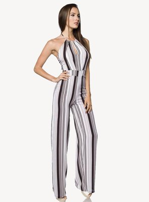 Hipstylers - Ladies SYROS Crepe Jumpsuit WHITE/BLACK S