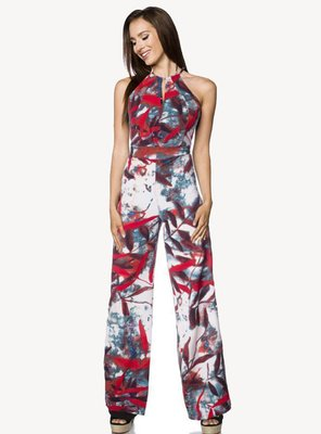 Hipstylers - Ladies SYROS Crepe Jumpsuit WHITE/RED S