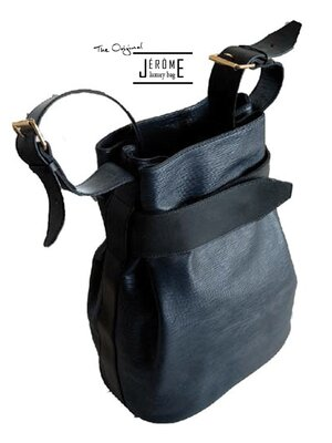 BAKER - classic designer leather handbag - black & blue -...
