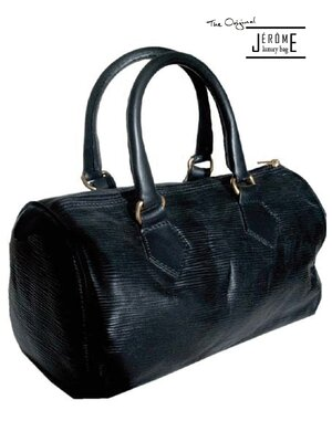 GRACE - classic line designer leather handbag - black -...