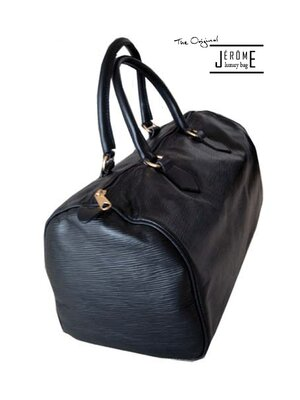 LOREN - classic line epi leather design handbag - black -...