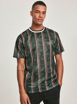 Southpole - Mens THIN VERTICAL STRIPES AOP T-Shirt GREEN S