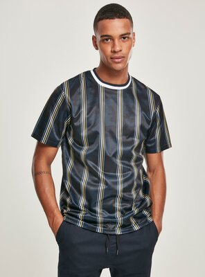 Southpole - Mens THIN VERTICAL STRIPES AOP T-Shirt NAVY M