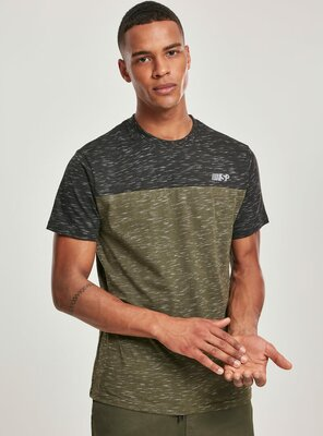 Southpole - Mens COLOR BLOCK Tech T-Shirt   MARLED OLIVE S
