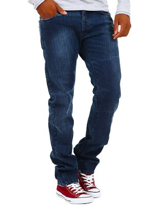Absolut Joy - Mens ALEX Used Wash Straight Leg Jeans DARK...