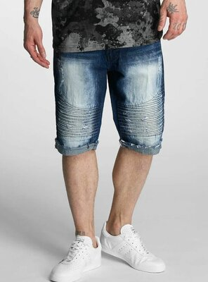 Southpole - Mens BIKER Denim Shorts DARK SAND BLUE W30