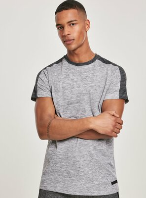 Southpole - Mens SHOULDER PANEL Tech T-Shirt MARLED GREY S