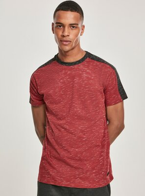 Southpole - Mens SHOULDER PANEL Tech T-Shirt MARLED RED S