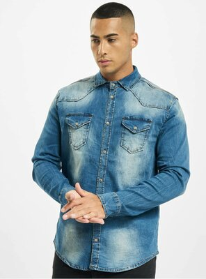 Brandit - Mens RILEY Denim Shirt BLUE WASHED 3XL