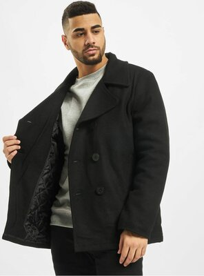 Brandit - Mens PEA Coat / Jacket BLACK S
