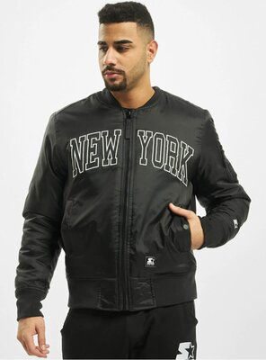 Starter - Mens NEW YORK Bomber Jacket BLACK XS