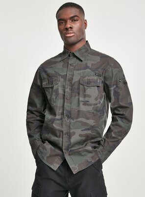 Brandit - Mens MEN Slim Fit L/S Shirt OLIVE CAMO 3XL