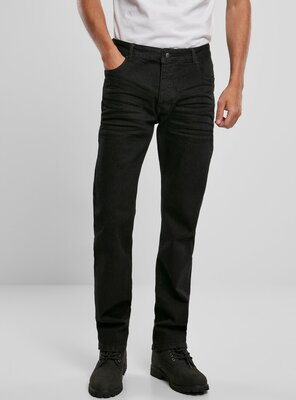 Brandit - Mens MASON Unwashed Straight Fit Jeans BLACK...