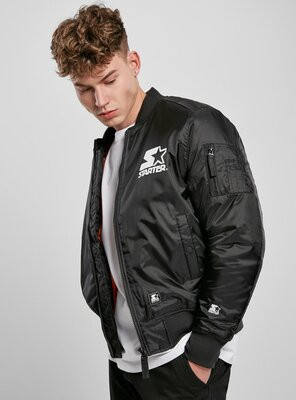 Starter - Mens THE CLASSICS Logo Bomber Jacket BLACK XS