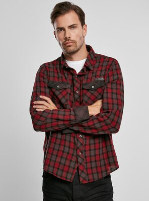 Brandit - Mens DUNCAN Check Shirt RED/BROWN S