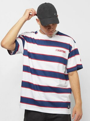 Starter - Mens LOGO STRIPED T-Shirt WHITE/BLUE XS