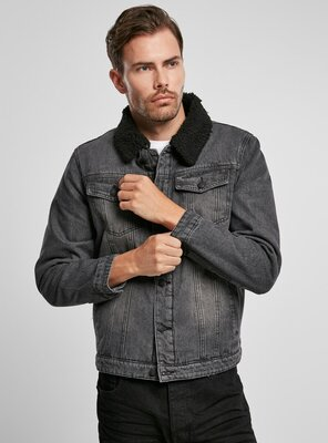 Brandit - Mens Sherpa Denim Jacket BLACK/BLACK S