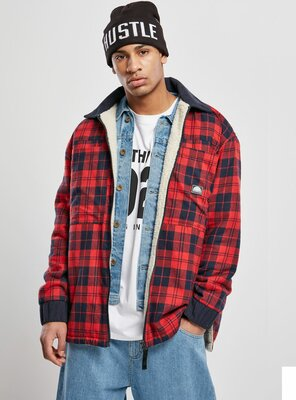 Southpole - Mens Check Flannel Sherpa Jacket RED M