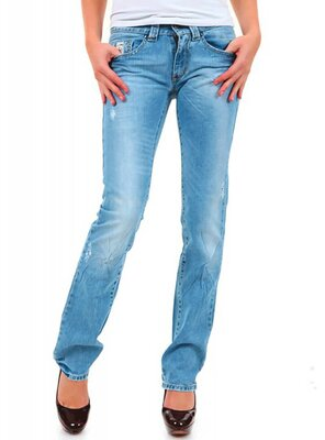 525 - Ladies CDCP2934 Straight Leg Jeans - BLUE DESTROY -...