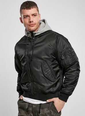 Brandit - Mens Hooded MA1 Bomber Jacket BLACK/GREY S