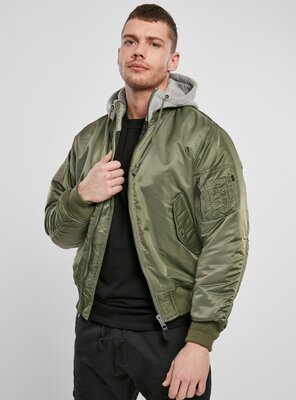 Brandit - Mens Hooded MA1 Bomber Jacket OLIVE/GREY 3XL