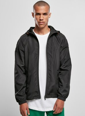 Urban Classics - Mens Recycled Windrunner BLACK/BLACK S