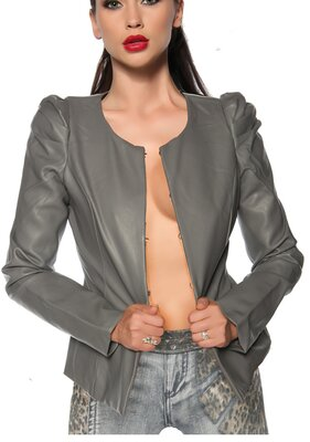 Violette Fashion - Ladies SALLY Collarless Faux Leather...