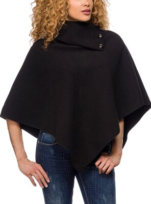 No Name: ESTHER - ladies poncho with high neck &  buttons...