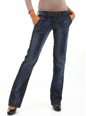 Sexy Women - Damen STEFANY Destroyed Bootcut Jeans - DARK...
